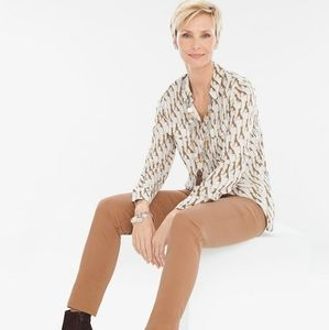 Chico's | Whimsy Cheetah Print Button Front Blouse